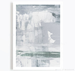 Blue, grey and green abstract art print