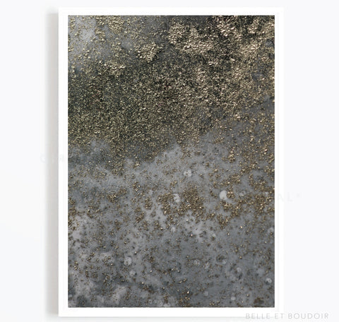 Grey and gold Abstract Art Print