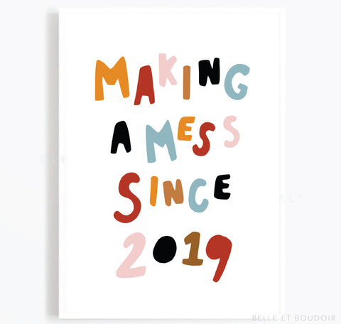 Personalised Nursery print - Making a Mess
