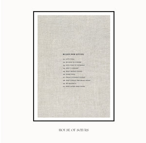 Rules for Living art print