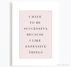Pink Successful quote print
