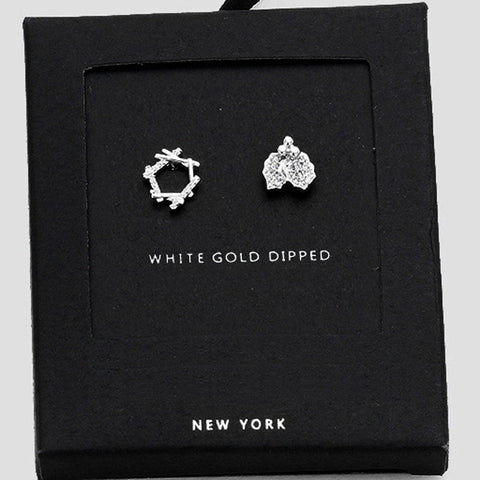 AnChus Gold Dipped CZ Christmas Stud Earrings