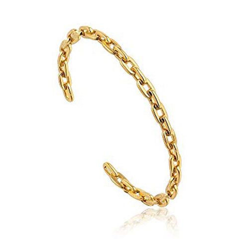 Gold Dipped Metal Chain Cuff Bracelet