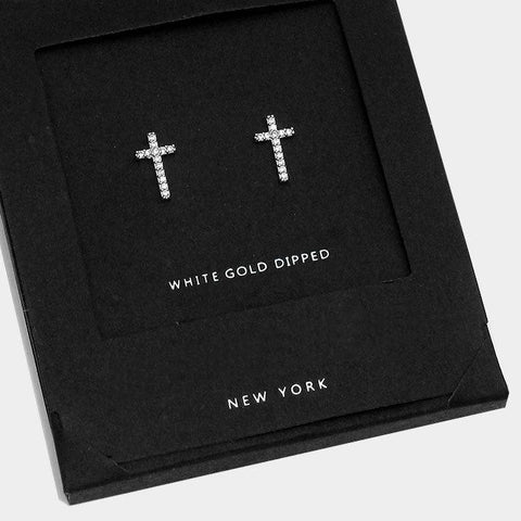 AnChus Gold Dipped CZ Cross Stud Earrings