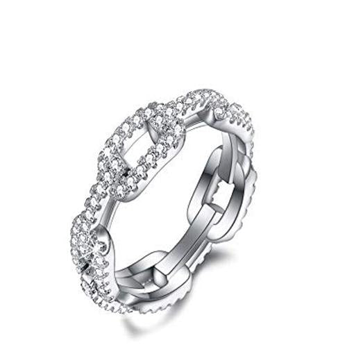 CZ White Gold Dipped Metal Chain Ring