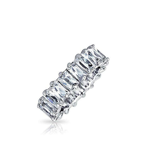 Single Color Emerald Cut Eternity Band Cz Ring