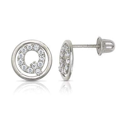White Gold Circle CZ Initial Sweirl Stud Earrings