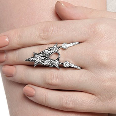 V Star CZ Cocktail Rings