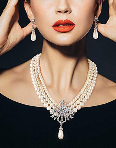 AnChus Vintage Statement Rhinestone w Pearl Collar Necklace  (Audrey Hepburn)