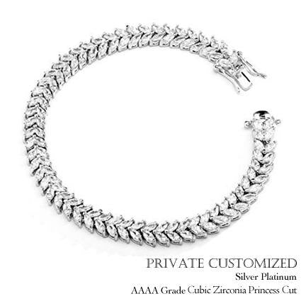 "(Customized) AnChus Silver Platinum w 0.25"" Laurel Cubic Zirconia Bracelet"