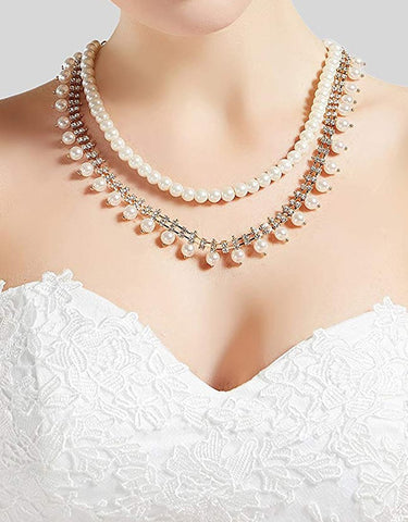 20s Gatsby Crystal Pearl Necklace Vintage Imitation Pearl Necklace  (Audrey Hepburn)