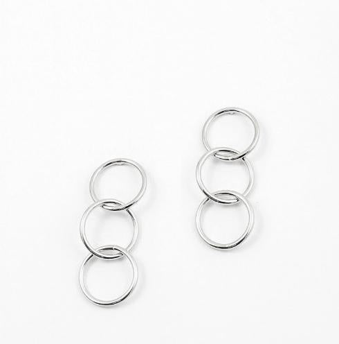 White Gold Dipped Triple Hoop Link Earrings