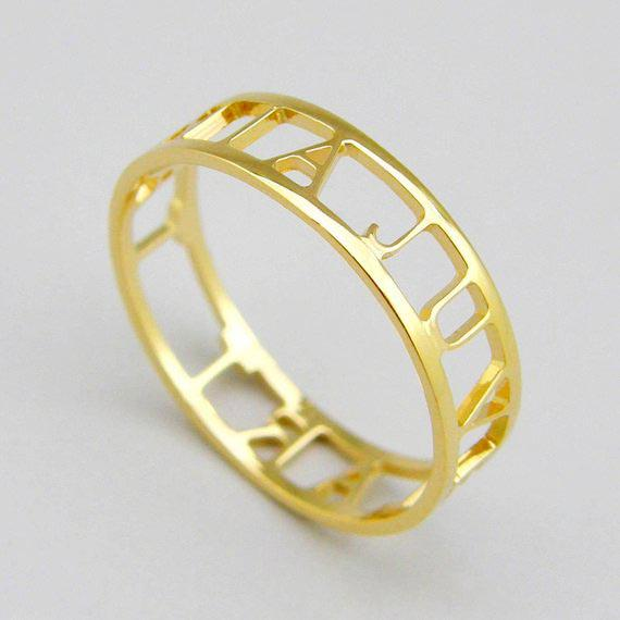Personalized Hollow Initial Craft Ring