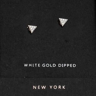 AnChus Gold Dipped CZ Triangle Stud Earrings