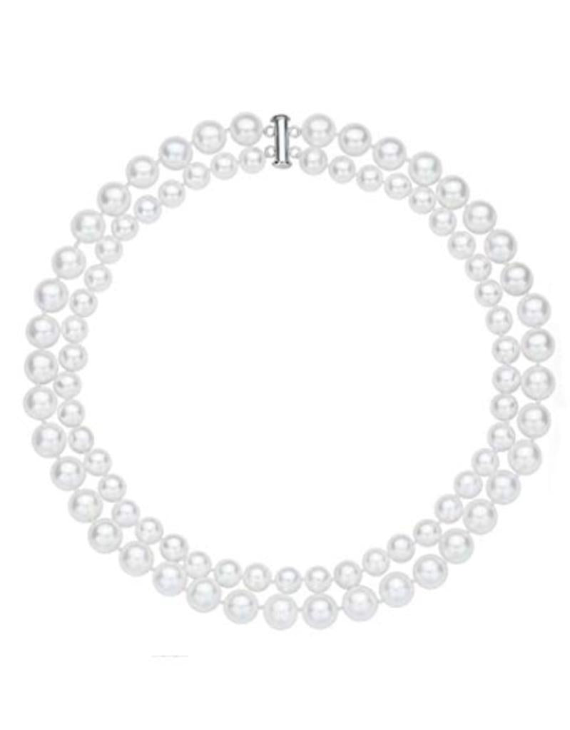 Double-Row 8-10mm Black/White Seashell Pearl Necklace 18""