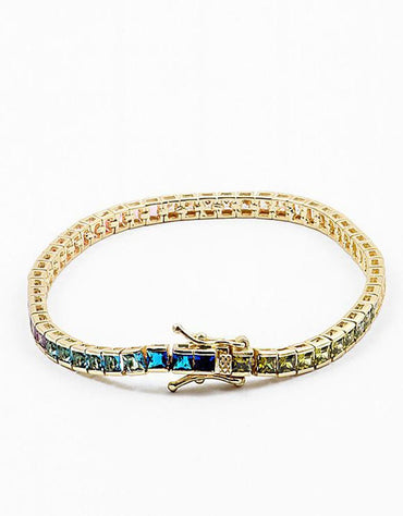 Square Rainbow Multi CZ w Tongue Clasp Bracelet