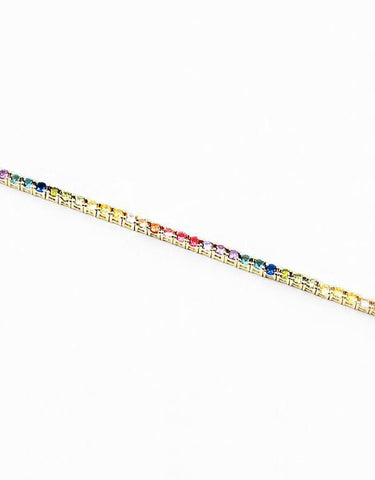 Multi-Colored CZ Link Bracelet