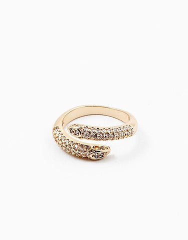 Snake CZ Wrap Deco Ring
