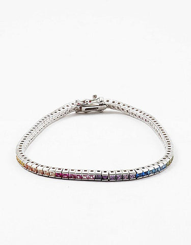 Sterling Silver Square Rainbow w Tongue clasp Bracelet