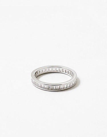 Square CZ Link Eternity Band Ring