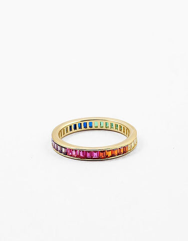 Mult- Color Emerald Cut Eternity Band CZ Ring