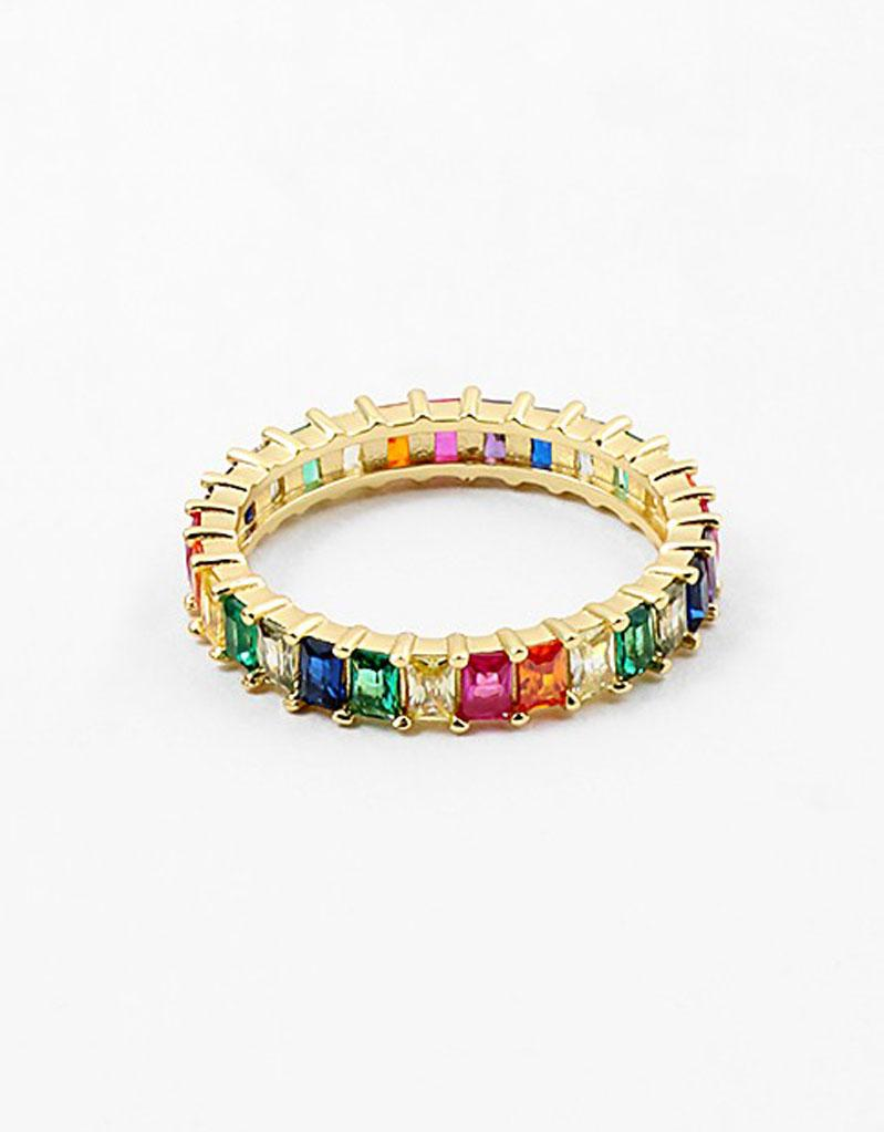 Rainbow CZ Eternity Band Ring