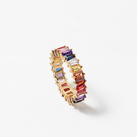 Multi Color Emerald Cut Eternity Band Cz Ring
