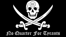 Load image into Gallery viewer, No Quarter For Tyrants Jolly Roger Sticker