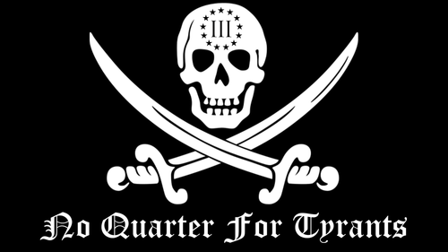 The Crumpy Milita No Quarter For Tyrants Jolly Roger Sticker (20 Pack)