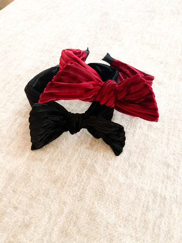 Velour Bow Headbands (2 colors Available)