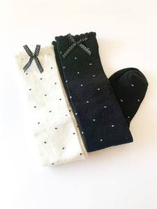 Black and white Polk a dot knee highs