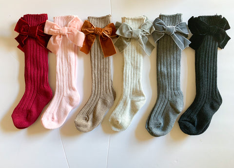 Velvet Wool Knee Highs (6 color options)