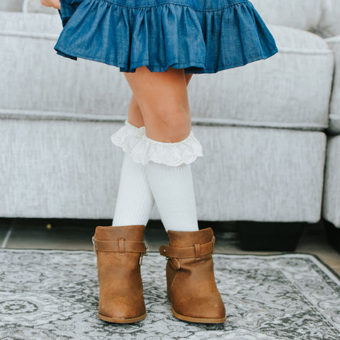 Ruffle Ribbed Knee Highs