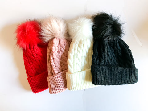 Single Pom Beanies (4 color options)