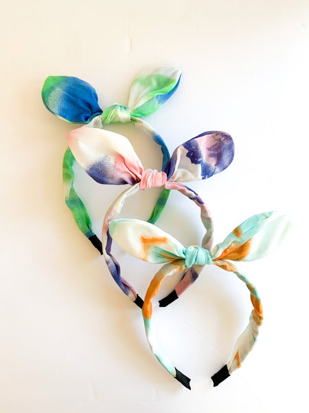 Tie Dye Bow Headbands (3 color options)