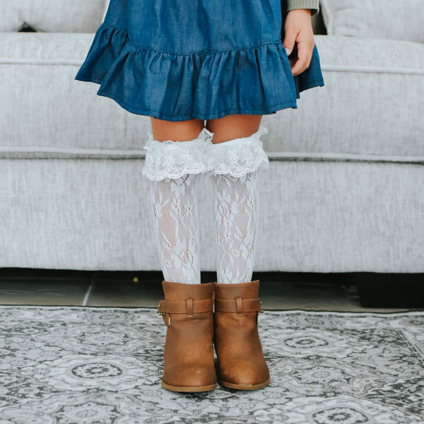 Lace Ruffle Knee Highs (2 color options)