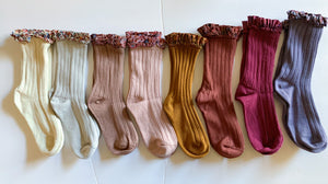 Floral Ruffle Calf socks (8 color options)