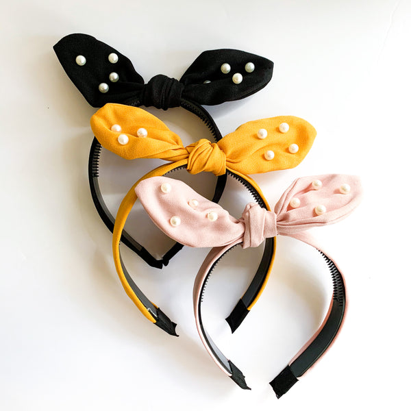 Pearl Bow Headbands (3 color options)
