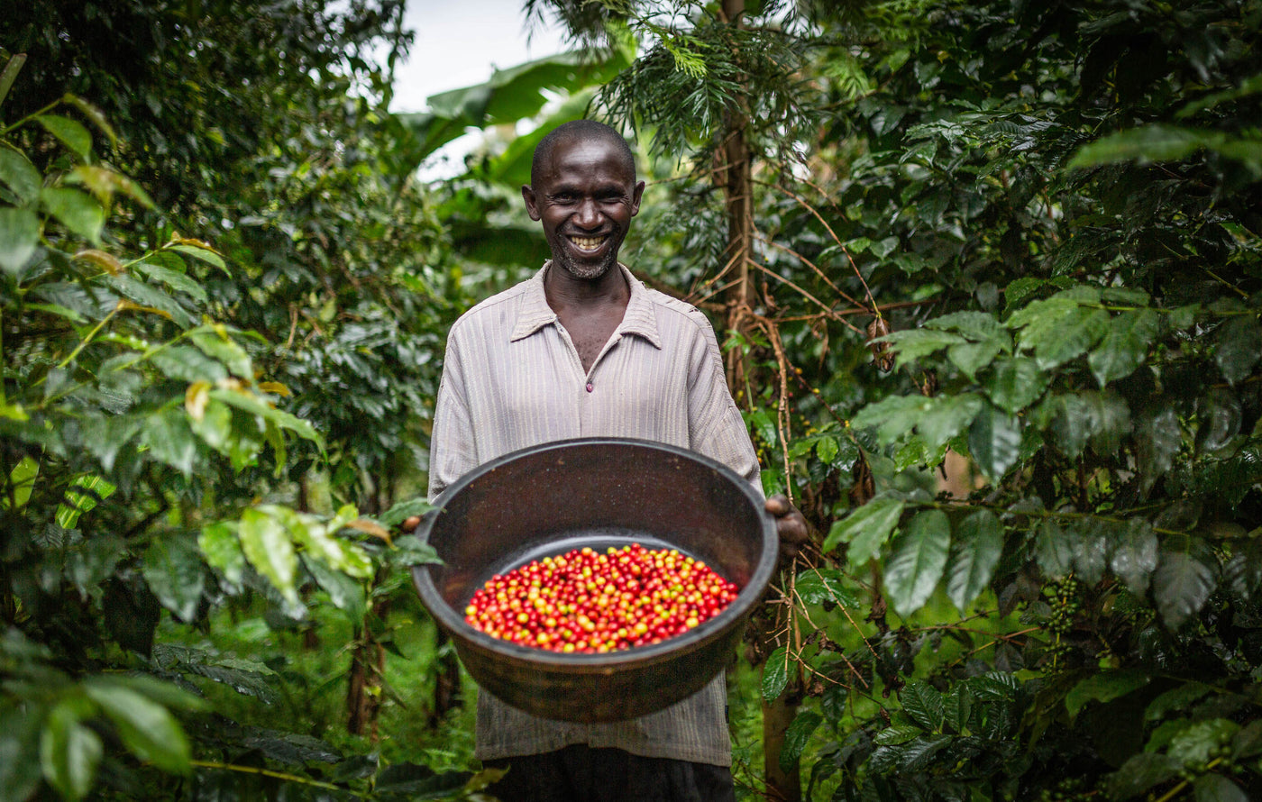 Ugandan farmer with coffee
