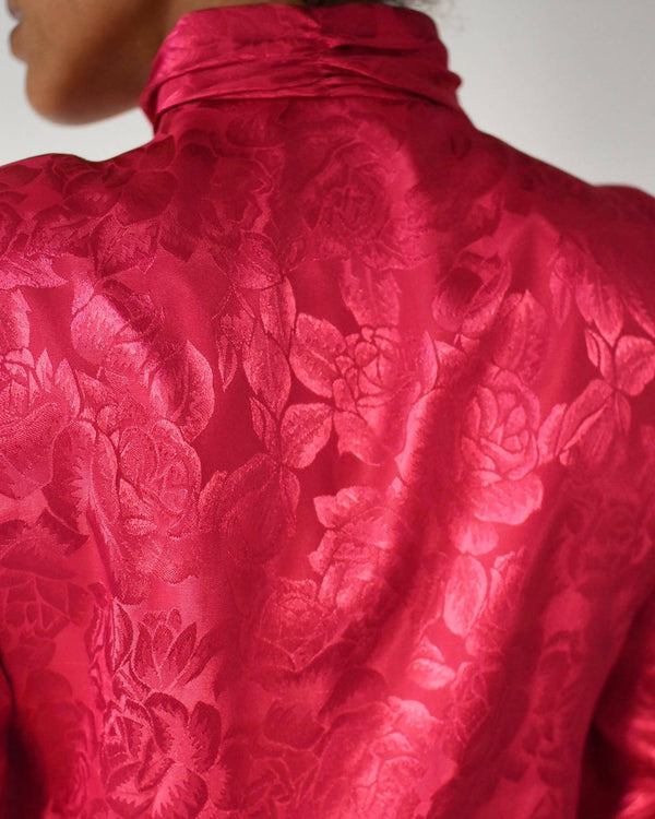 Vintage fuchsia rose patterned blouse