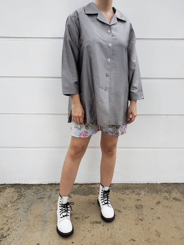 Long-sleeve Silver Silk Blouse
