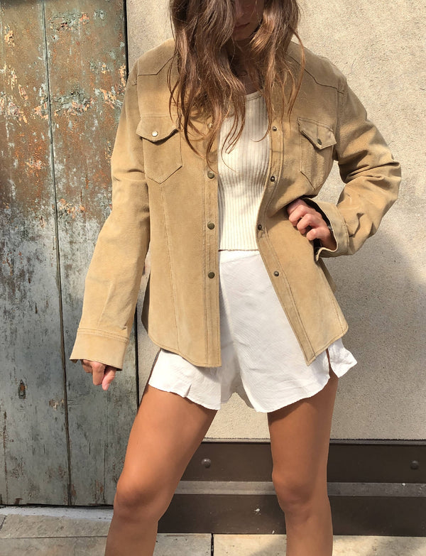 Beige Real leather jacket Made in Italy