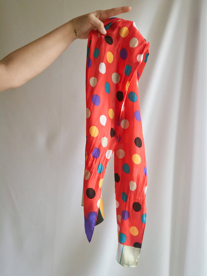 Vintage Albert Nipon Polka Dot Red Silk Scarf