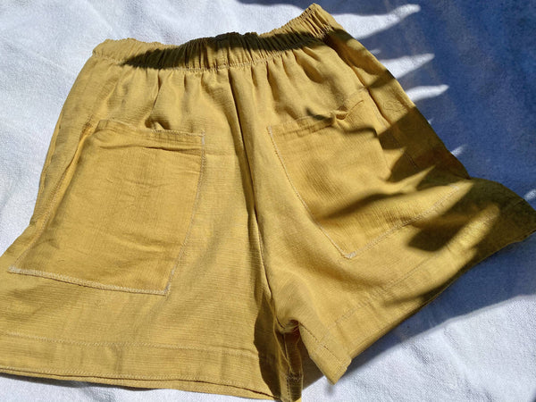 OC014- Mustard Mom Shorts W/Pockets