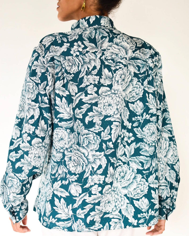 1980's forest green floral blouse