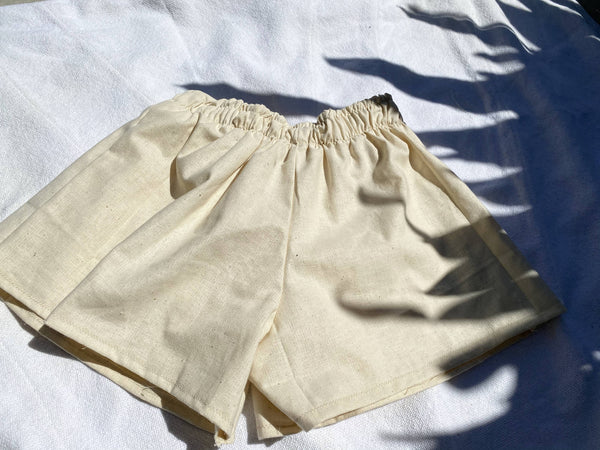OC004- Off White Linen Shorts