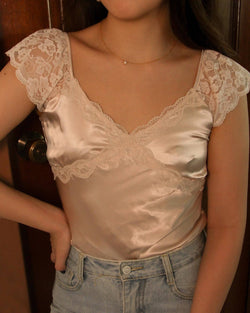 Satin Sweetheart Neck Blouse