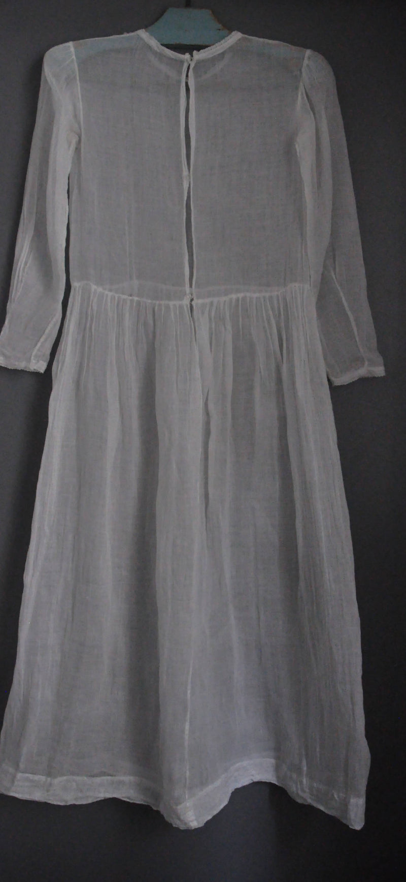 Antique French White Communion dress transparent cotton gaze