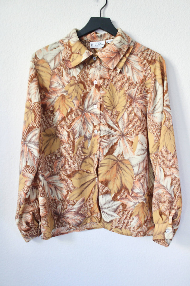 Vintage Hawaiian Floral- Double Collar Blouse