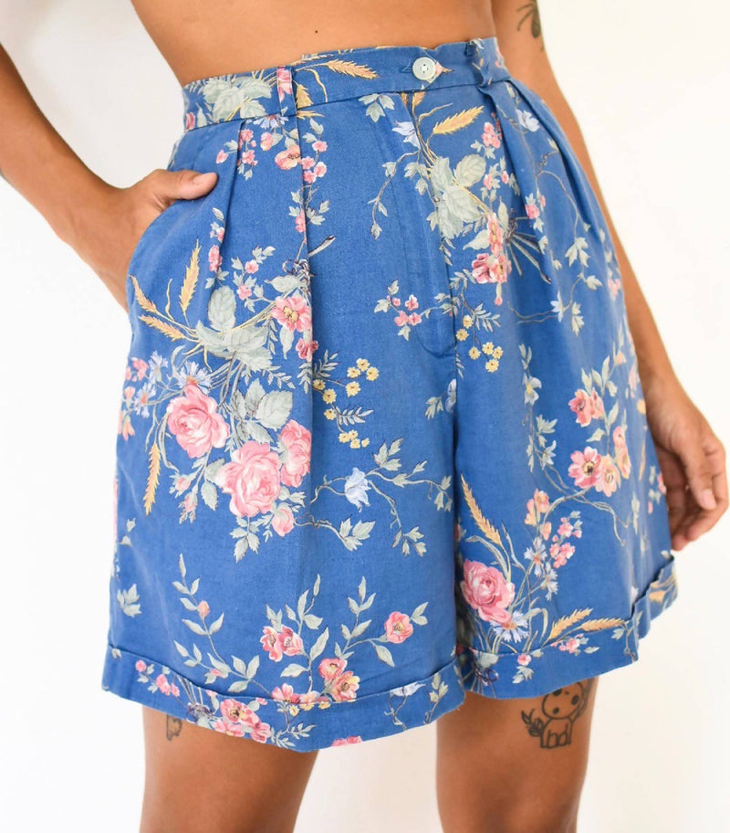 Vintage linen high waisted floral shorts